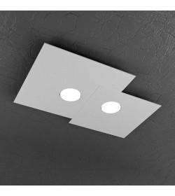 Plafoniera Led rettangolare 2 luci Plate Top Light grigio