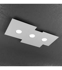 Plafoniera Led rettangolare 3 luci Plate Top Light grigio