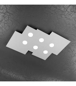 Plafoniera Led rettangolare 6 luci Plate Top Light grigio