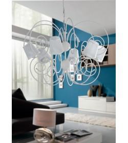 Sospensione 6 luci bianco laccato Pippo Bonetti BL112/6