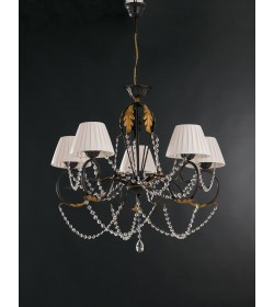 Lampadario 5 luci in ferro battuto e strass Barocco Bonetti BL108/5