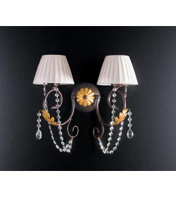 Applique 2 luci in ferro battuto e strass Barocco Bonetti BL108/AP2