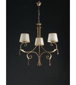 Lampadario 3 luci in ferro battuto e strass Dely Bonetti BL122/3