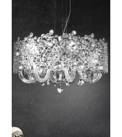 Sospensione 5 luci cristallo e vetro Damasco/4  3716 Contemporanea