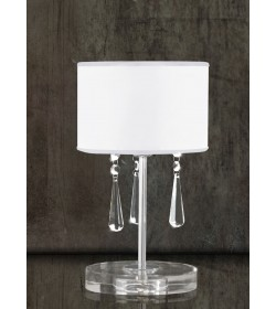 Lumetto bianco vetro e cristallo Elisabeth 3334 Contemporanea