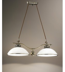 Lampadario classico 2 luci in metallo e vetro Perenz 5424