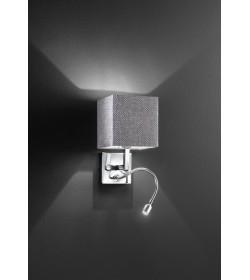 Applique cromo con led di lettura e paralume grigio Perenz 6063
