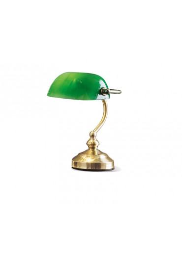 Lampada scrivania classica ottone vetro verde Perenz 4806 V