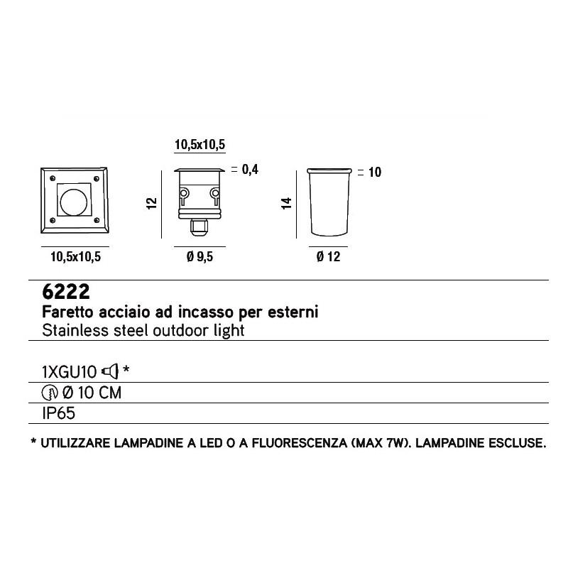 Faretto ad incasso quadrato per esterni perenz 6222 for Lampadine led per faretti ad incasso