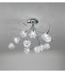Plafoniera 12 luci Magnolia cromo Antea Luce