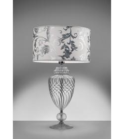 Lume cristallo e tessuto bianco arabescato argento Antea Luce