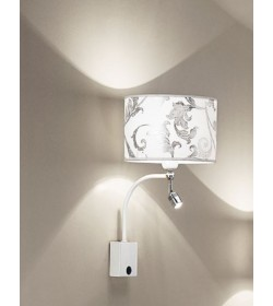 Applique con Led Fashion  bianco arabescato argento Antea Luce