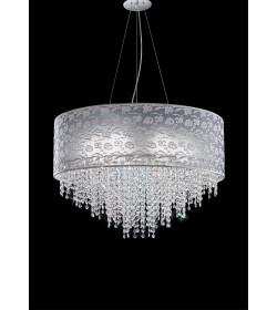 Sospensione Violetta Ø55 pizzo grigio perla con cristalli Antea Luce