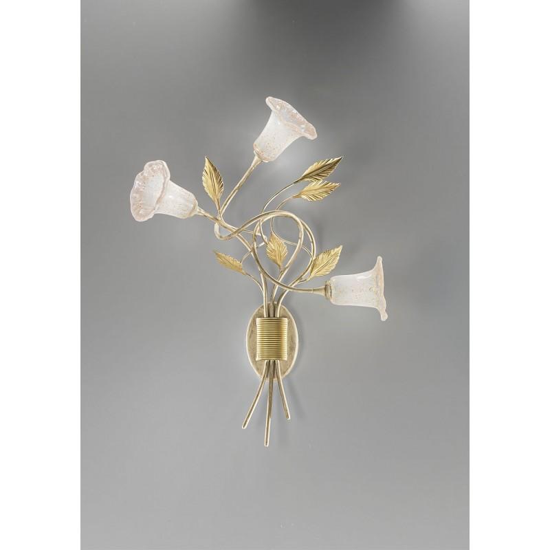 Applique 3 luci Mimi' ferro battuto avorio/oro Antea Luce