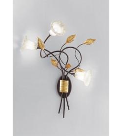 Applique 3 luci Mimi' ferro battuto bruno anticato Antea Luce