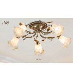 Plafoniera 5 luci ferro battuto 1700/5 PL Via Dese Lam Export