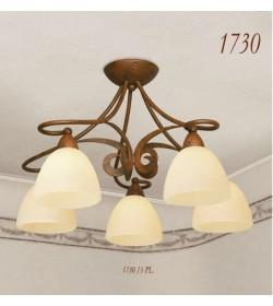 Plafoniera 5 luci ferro battuto 1730/5PL Via Dese Lam Export
