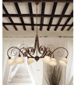 Lampadario 6 luci ferro battuto 1750/6 Via Dese Lam Export