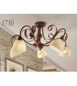 Plafoniera 5 luci ferro battuto 1750/5PL Via Dese Lam Export