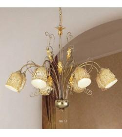 Lampadario 8 luci in ferro e vetro murano 1861/8 Via Dese Lam Export