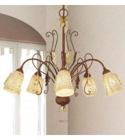 Lampadario 5 luci in ferro e vetro murano 1865/5 Via Dese Lam Export