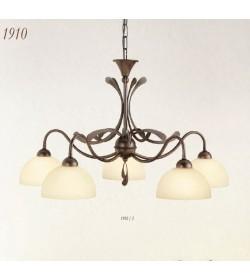 Lampadario 5 luci in ferro battuto 1910/5 Via Dese Lam Export