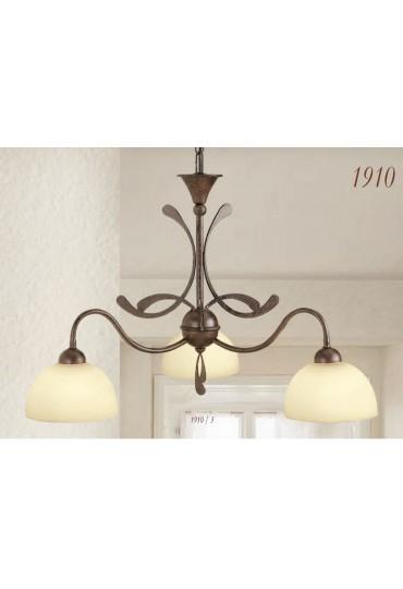 Lampadario 3 luci in ferro battuto 1910/3 Via Dese Lam Export