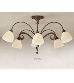 Plafoniera 6 luci in ferro battuto 1945/6PL Via Dese Lam Export