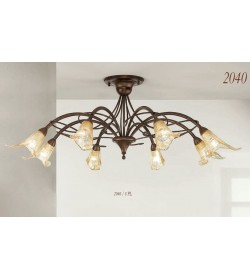Plafoniera 8 luci in ferro battuto 2040/8PL Via Dese Lam Export