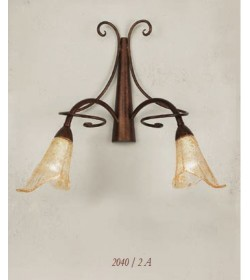 Applique 2 luci in ferro battuto 2040/2A Via Dese Lam Export