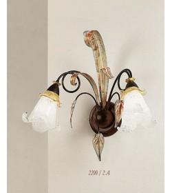 Applique 2 luci ferro marrone e oro 2200/2A Via Dese Lam Export