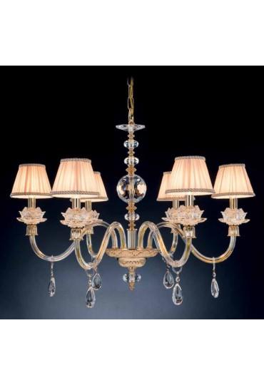 Lampadari In Cristallo Classici.Lampadario Arabella In Cristallo Con Paralumi Luxart