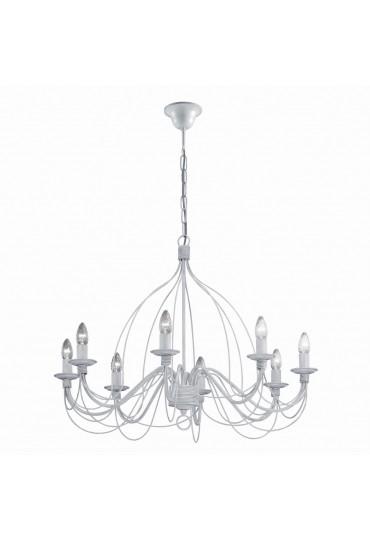 Lampadario in ferro battuto 8 luci Corte SP8 bianco Ideal Lux
