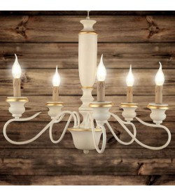 Lampadario 5 luci in legno...