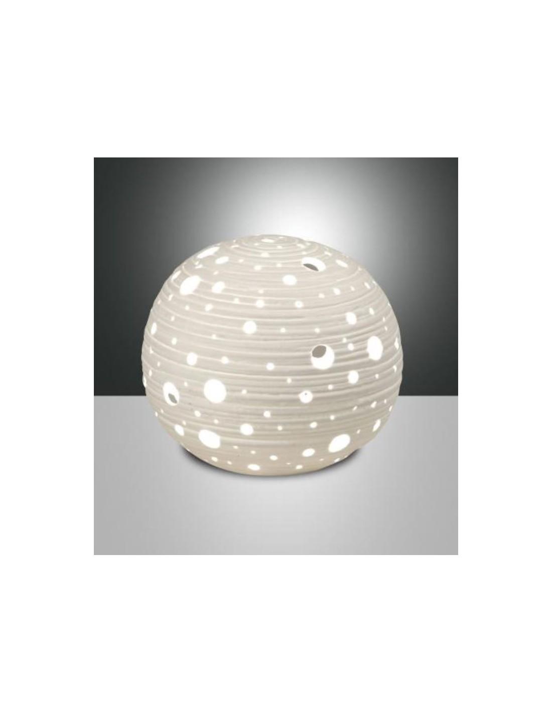 Lampada Da Tavolo In Ceramica Corvara Bianca 3531 30 102 Fabas Luce