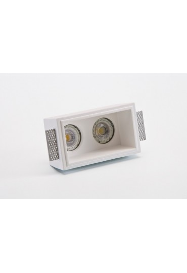 Faretto rettangolare in gesso doppia lampadina a incasso