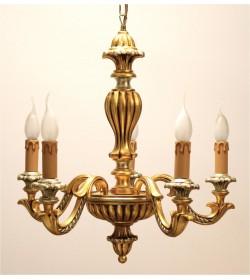 Lampadario classico 5 luci in legno intagliato finitura foglia oro e argento