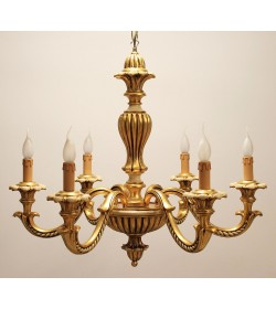 Lampadario classico 6 luci in legno intagliato finitura foglia oro e avorio