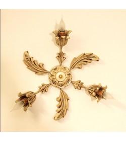 Plafoniera in legno a 3 luci stile classico foglia oro e avorio