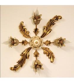 Plafoniera in legno a 4 luci stile classico foglia oro e avorio