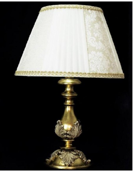 Lampada Da Tavolo Classica H.60 In Legno Foglia Oro Avorio 103/LP