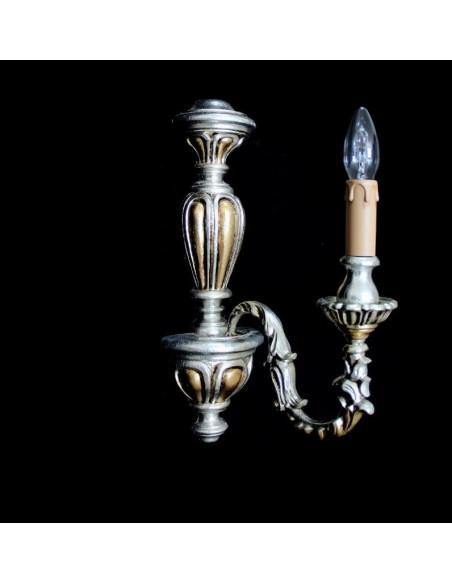 Applique Classica Legno Foglia Argento/Oro 1 Luce 107/AP1