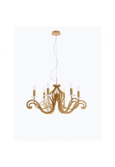 Sospensione Klimt metallo oro 6 luci Fan Europe