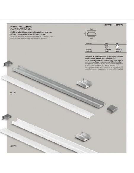 Profilo In Alluminio 2 Metri Per Strip Led GSTP61 GSTP72 Gea Led
