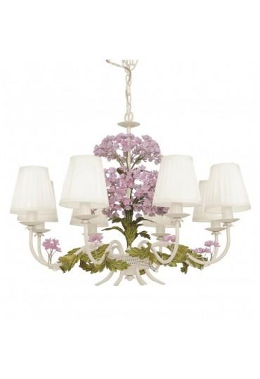 Sospensione Ortensia metallo decorata 8 luci Fan Europe