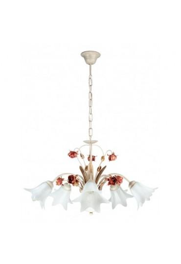 Sospensione Rose metallo decorato 5 luci Fan Europe