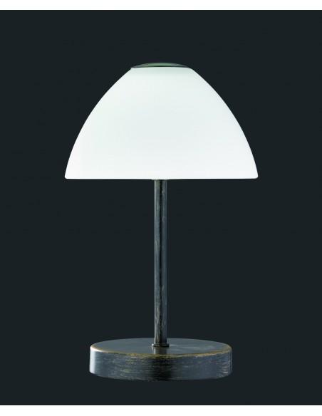 Lumetto Led Queen Dimmerabile Ruggine Paralume Vetro Bianco Trio Lighting