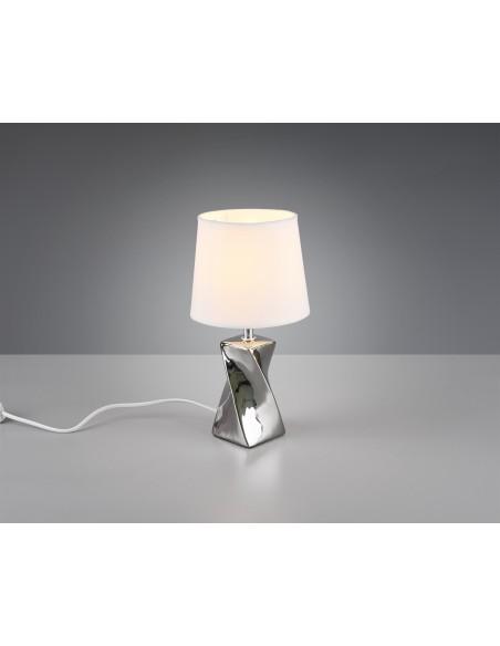 Lampada Da Tavolo Abeba Argento Paralume Bianco O15 Cm Trio Lighting