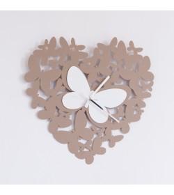 Orologio da parete Cuore Butterfly beige Arti e Mestieri