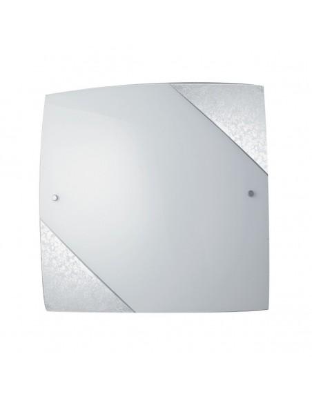Plafoniera Quadrata In Vetro Decoro Foglia Argento Paris 30x30 cm Fan Europe